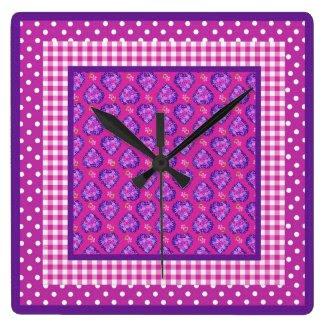 Wall Clock, Hearts, Flowers, Checks and Polka Dots