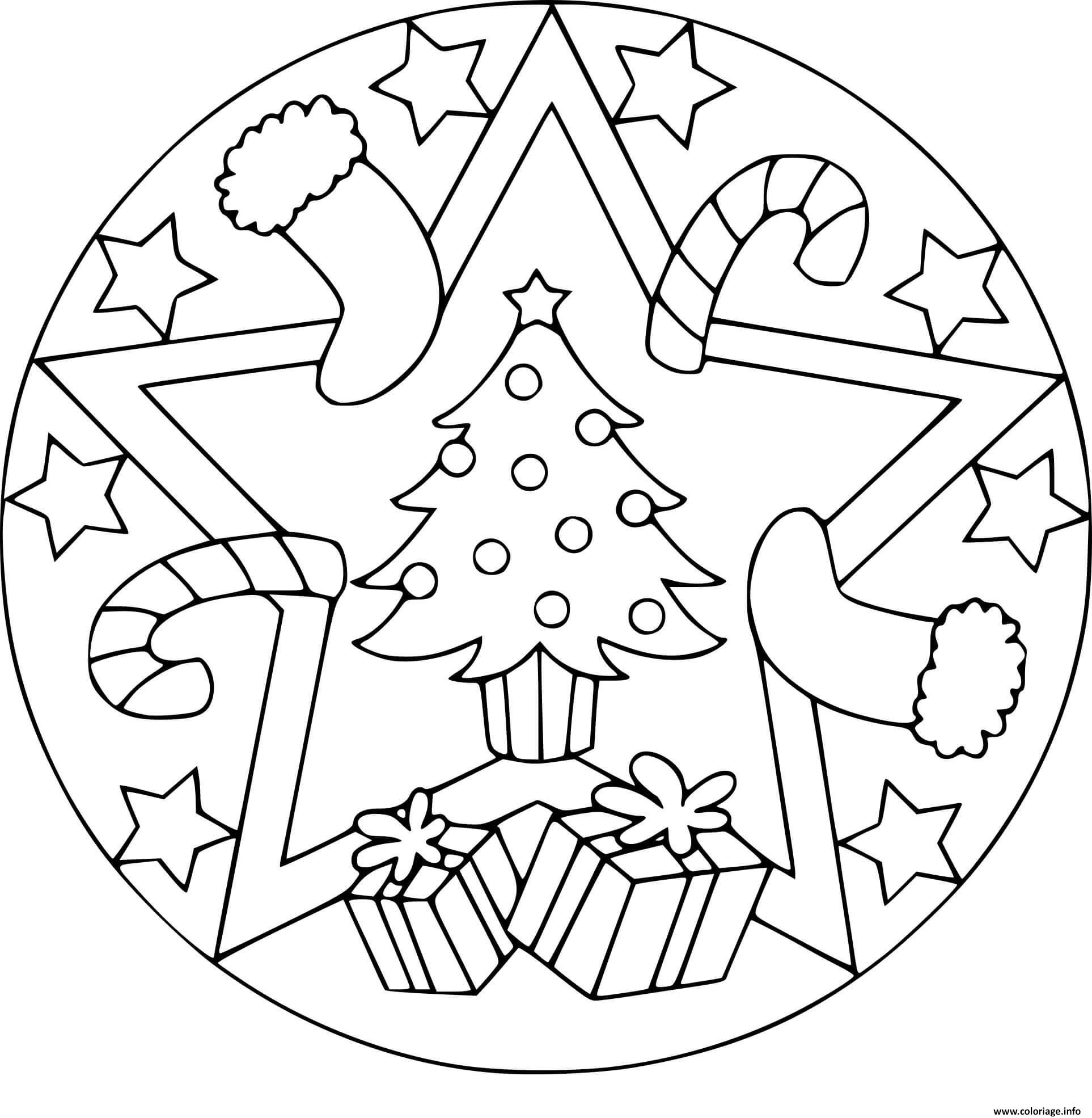Coloriage Mandala Noel Sapin Cadeaux Jecoloriecom