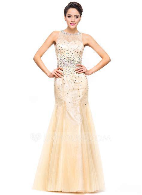 Trumpet/Mermaid Scoop Neck Floor Length Tulle Lace Prom