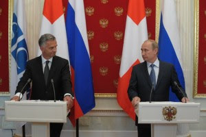 President Vladimir Putin replies to journalists' questions at a press conference with President of Switzerland and OSCE Chairperson-in-Office Didier Burkhalter on May 7, 2014. (Russian government photo)