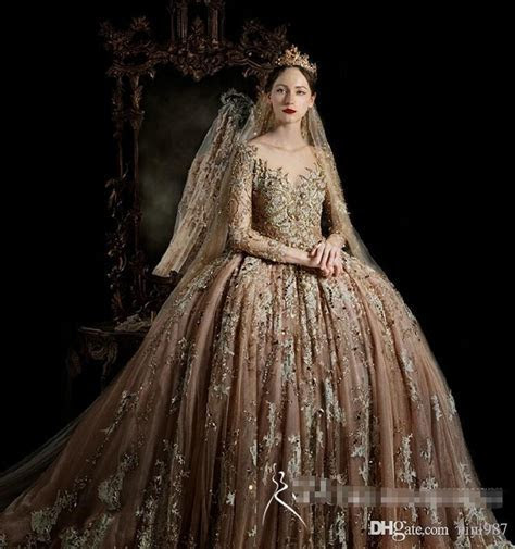 Royal House Vintage Long Sleeve Wedding Gowns 2017 High