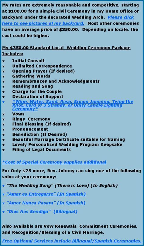 Long island Wedding Officiant, Wedding Packages
