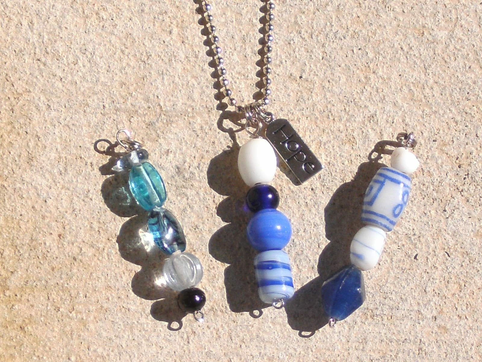 Blue Glass Bead Pendant set w/HOPE silver charm