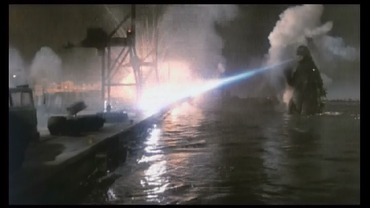 Godzilla cleans up the waterfront.