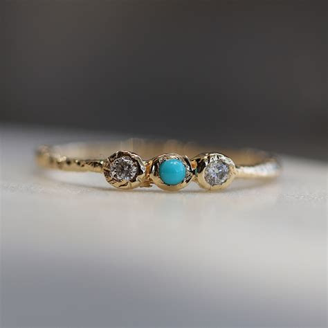 Danielle Welmond   Gold Turquoise and Diamond Ring at
