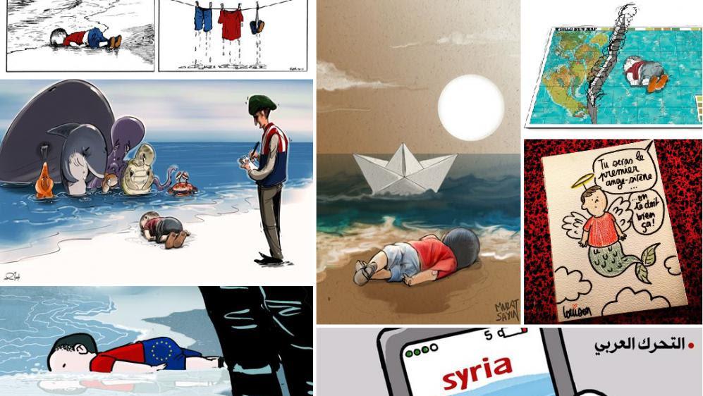 La mort d'un petit réfugié syrien, Aylan Kurdi, a fait le tour du monde. Des dessinateurs de presse de nombreux pays sont revenus sur les photos du drame.