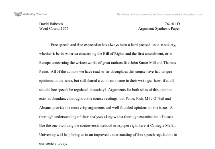 how to write an argumentative synthesis essay