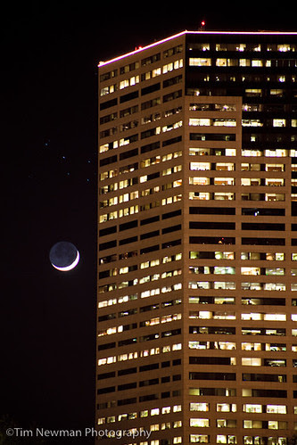 moon rise behind big pink