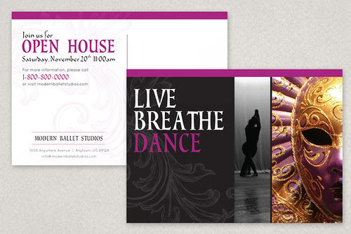 Elegant Ballet Postcard template, ballet, ballerina, dance, dancing, dancer, performance, physical activity, healthy lifestyle, studio, jump, motion, movement, leotard, rehearsal, practice, classes, instructors, schedule, company, stage, large type, contemporary, fitness, health, black, rose, gray, grey, pink, flyer, post card, mail, mailing, nutcracker, holiday, christmas, beautiful, elegant, whimisical, purple