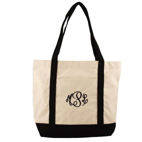 Medium Black Canvas Tote