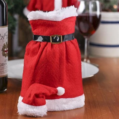 Mrs. Santa Claus Bottle Cover   Table Decor   Christmas