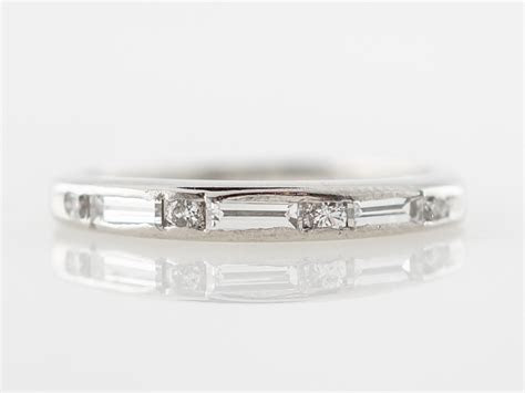 Vintage Baguette Cut Diamond Art Deco Wedding Band in Platinum