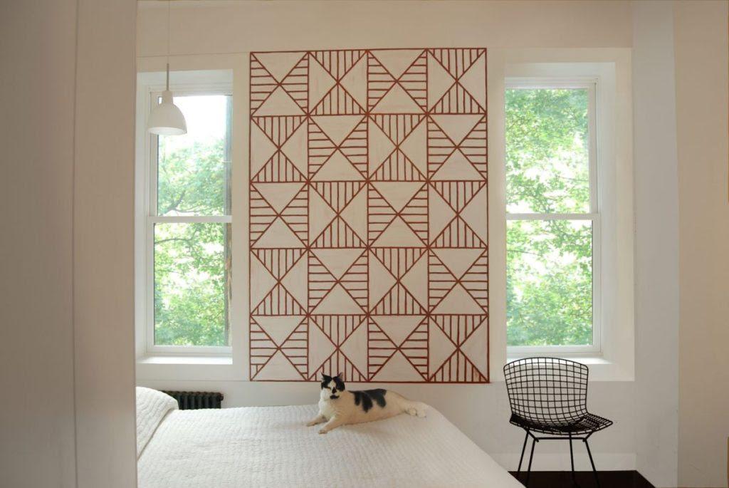 geometric-large-wall-art-bedroom-between-windows - Home ...
