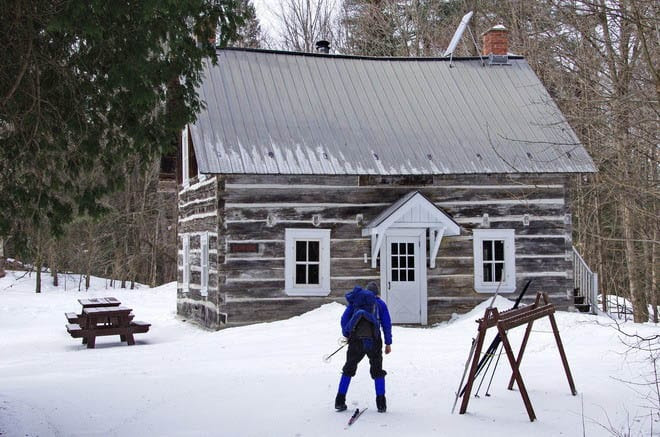 Skiing up to one of the beautiful warming huts in Gatineau Park