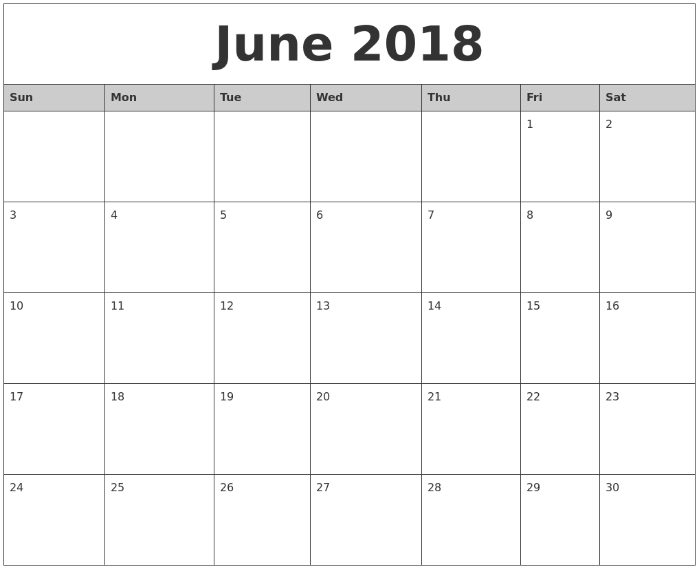 june 2018 monthly calendar printable