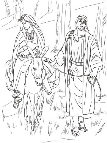 Dibujo De Maria Y Jose Camino A Belen Para Colorear Dibujos Para