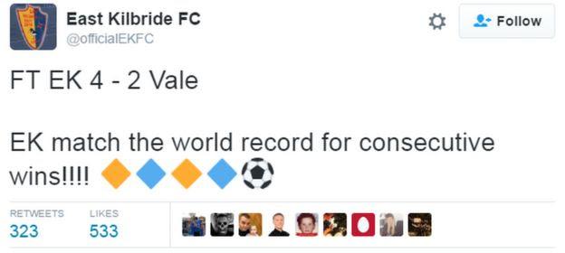 East Kilbride FC tweet