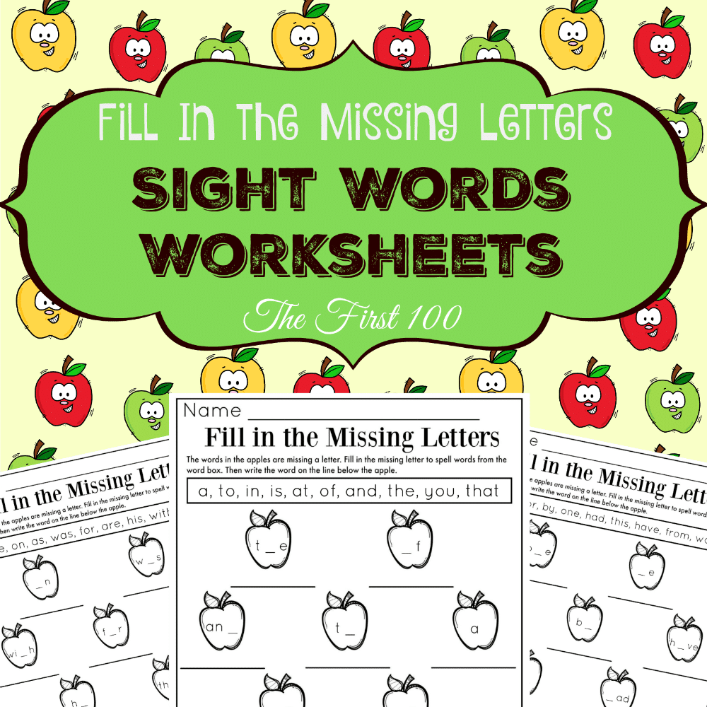 Sight Words Fill in the Missing Letters Worksheets square