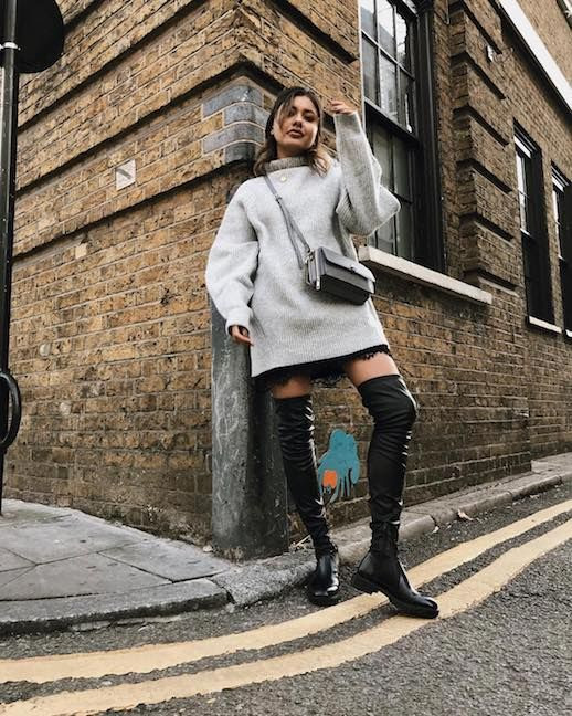 Le Fashion Blog Oversized Grey Sweater Dress Slip Dress Black Over The Knee Boots Grey Crossbody Bag Via @livblankson