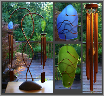 windchime, freestanding, beach stone, copper, glass, wind chime