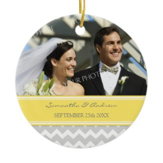 Wedding Ornament Favor Grey Yellow Chevron