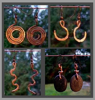 free gift earrings from Coast Chimes, copper, pebble