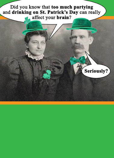 Funny St Patricks Day Card St Pats Brain From Cardfoolcom