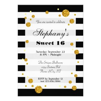 Stripes and Glitter Sweet Sixteen Invitation