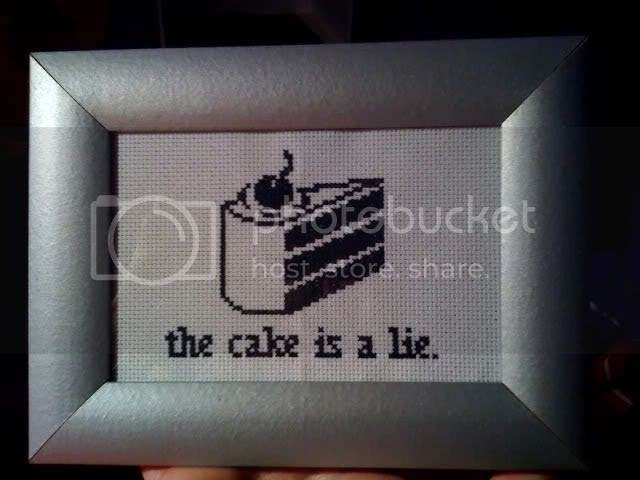 The Cake Is A Lie Cross Stitch