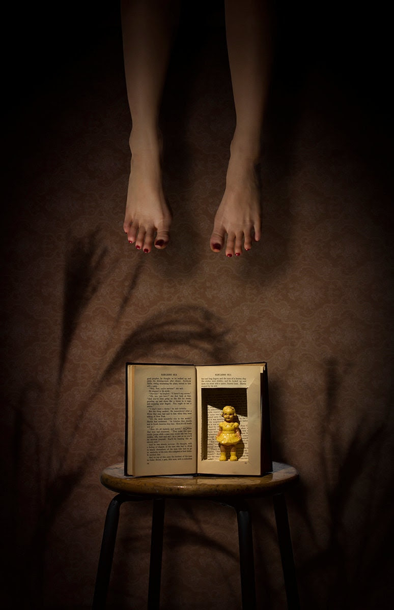 "8x10 ""Wading in the Sargasso"" Surreal Fine Art Photograph Hollowed Book Doll"