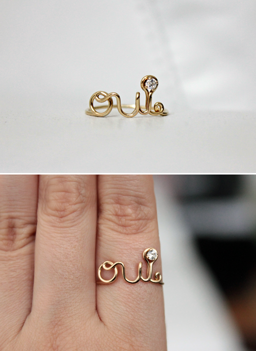 OUI RING STREET BAUBLE DELICATE CURSIVE WORD ETSY DIOR GOLD
