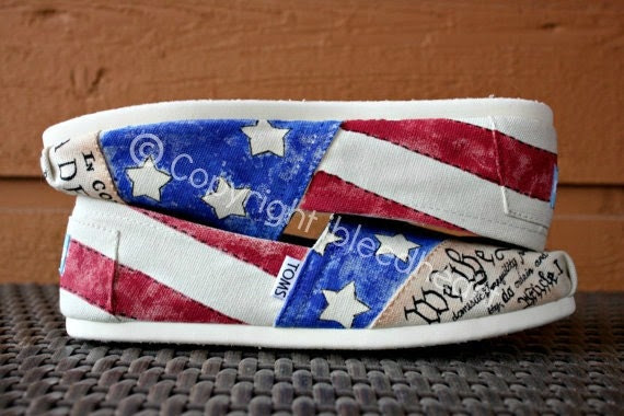 Adult - Flag Day Vintage American Flag with Declaration of Independence and Constitution - Custom Painted TOMS Shoes - ibleedheART