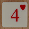 Playing Card Tile 4 of Hearts