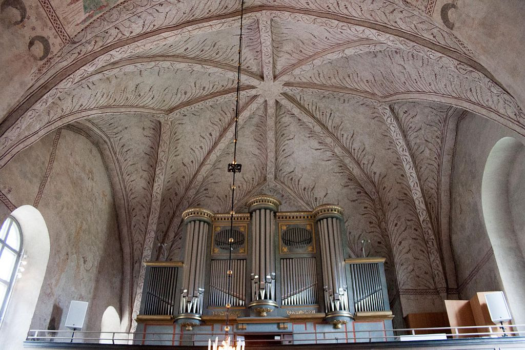 Gamla Uppsala parish church - organ, detail of the ceiling.jpg