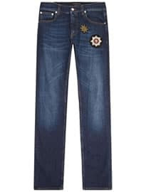 Alexander Mcqueen Badge Embroidered Jeans
