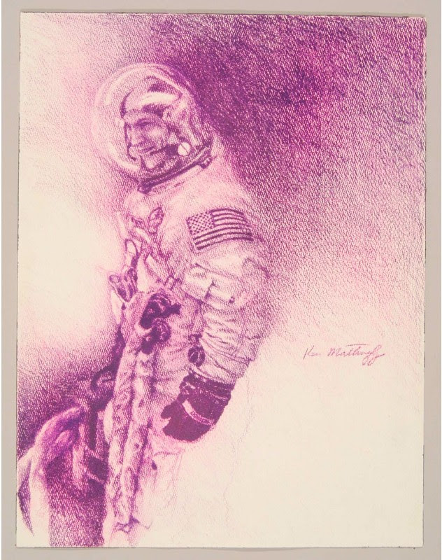 purple pencil sketch of US astronaut laughing inside his spacesuit
