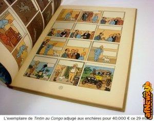 Un album di Tintin au Congo aggiudicato per 40.000 €