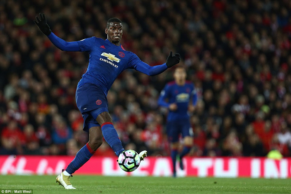 Pogba continued in his advanced role at the tip of the United midfield and had a couple of efforts from range in the first half
