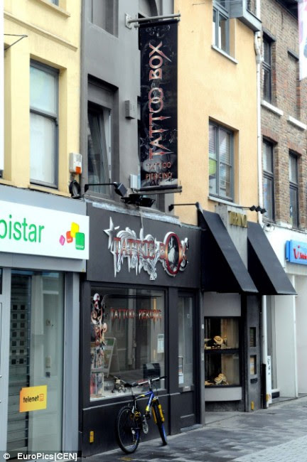 Rouslan Toumaniantz's tattoo parlour in Courtrai, Belgium, where Kimberley's