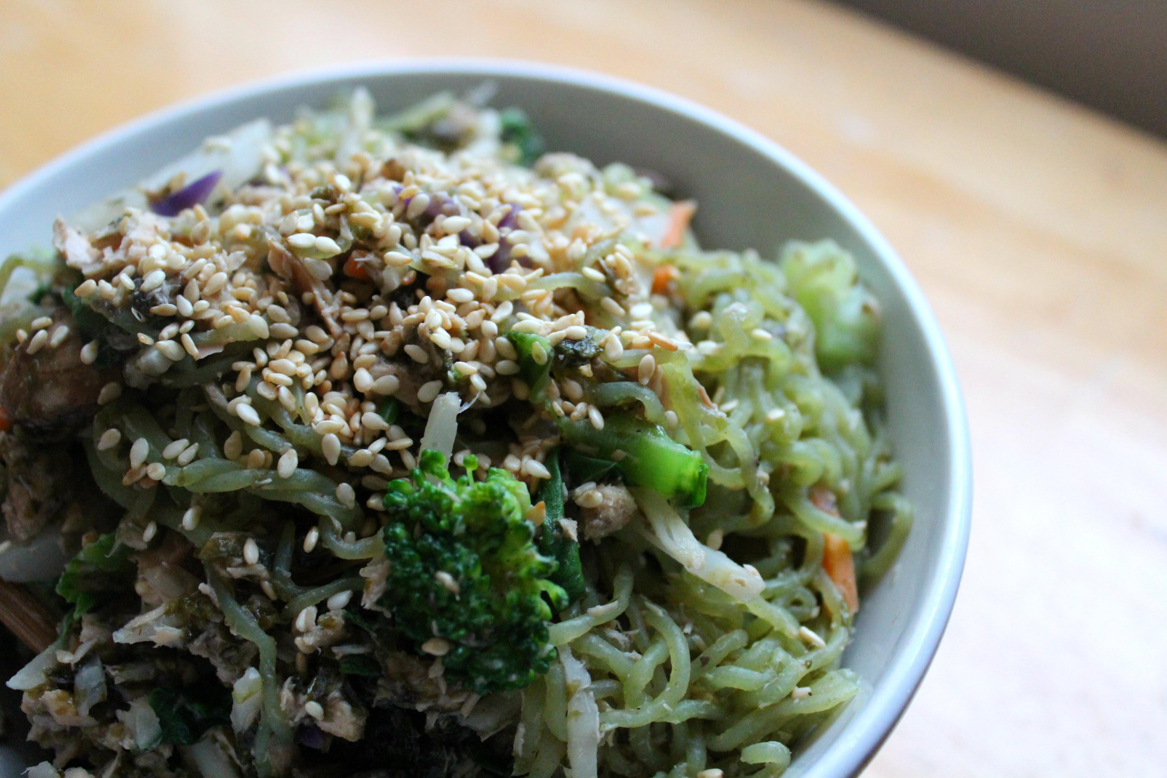 Chinese Salmon Veggie Noodle Stir-Fry