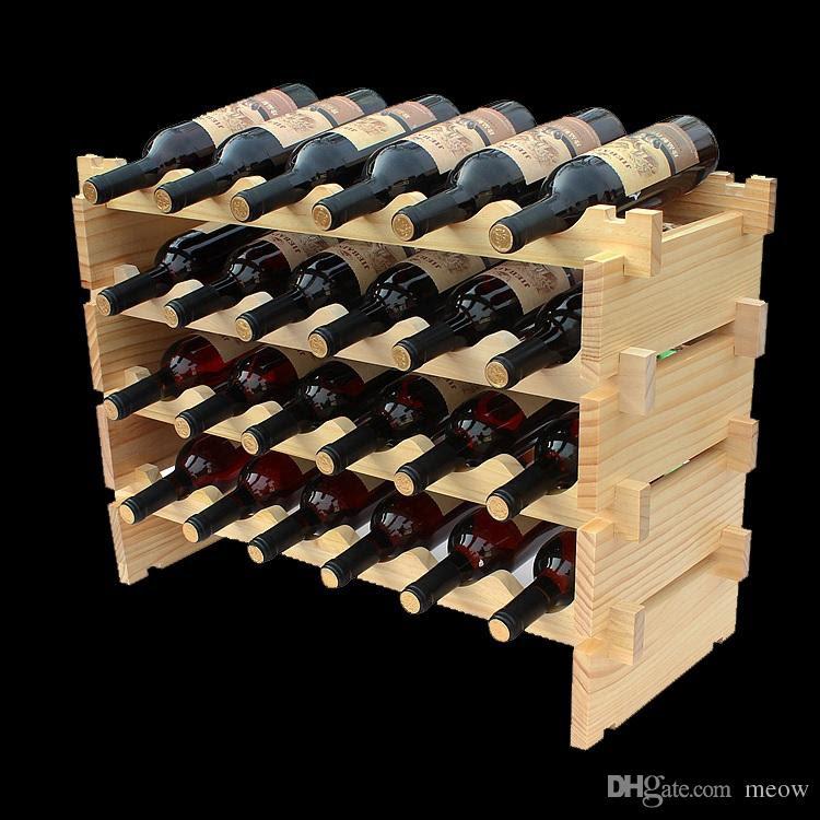 Madeira Rack de vinho DIY montar prateleira vinho madeira titulares apropriado para o Hotel adega Bar