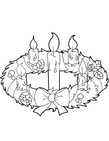 Disegno Di Ghirlanda Dellavvento E Candele Da Colorare Disegni Da