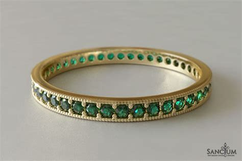 Emerald Wedding Band Bead Set in Yellow Gold New Zealand
