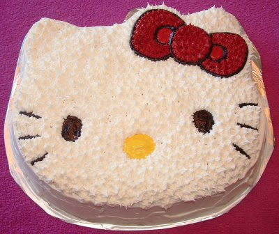 Birthday Cake Image On Used The Hello Kitty Pan And A Store Bought Mix