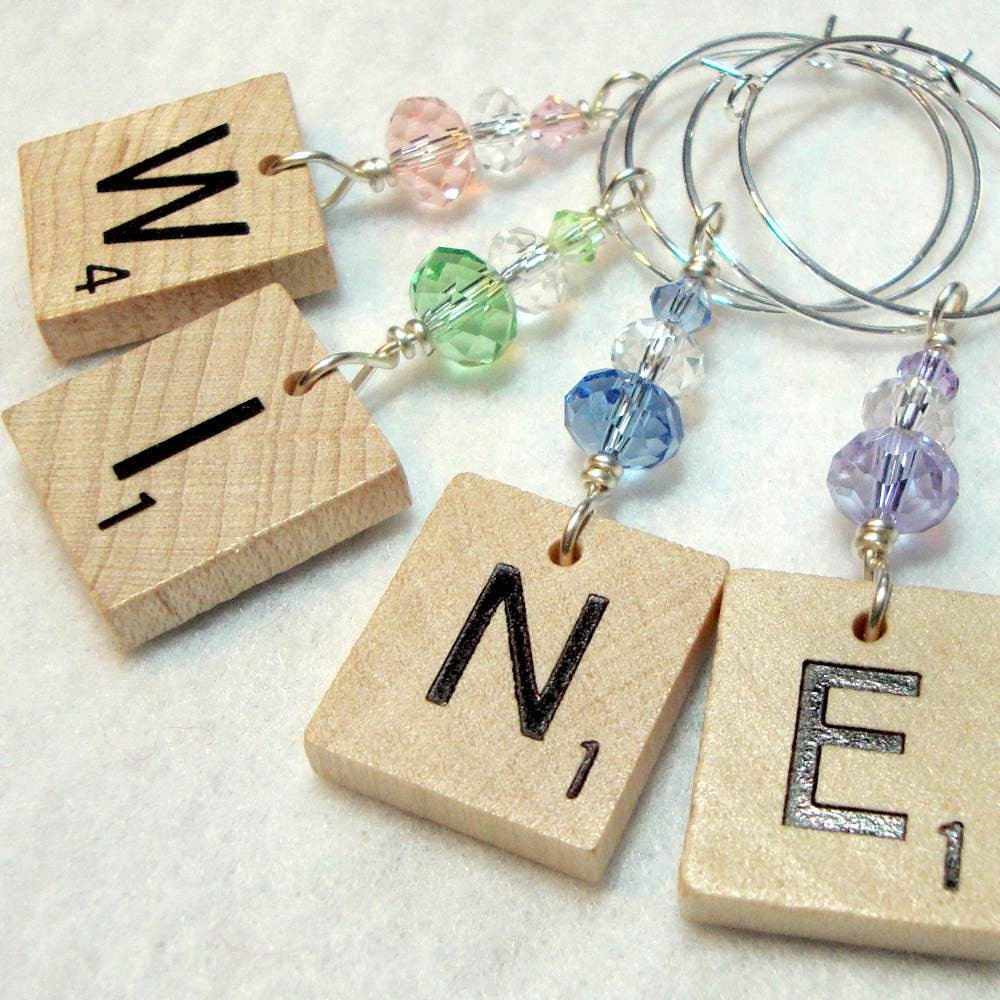 Scrabble Tile Wine Glass Charms - Wood Pastel Crystal - Pink Peridot Dusty Blue Lilac -  Your Choice of 4 Letters (Except J)