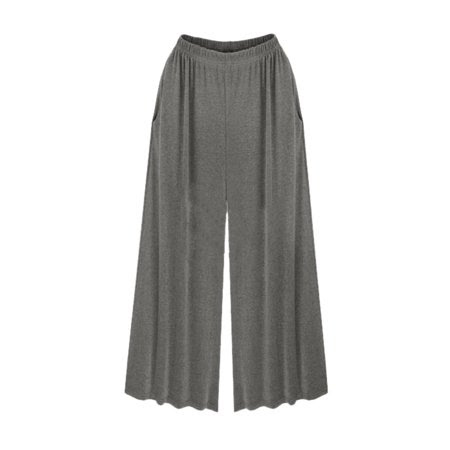 Women's Side Pockets Elastic Waist Wide Leg Pants
