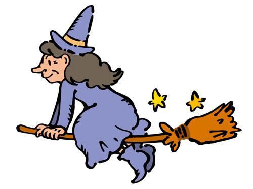 フリー素材 箒にまたがったおばあちゃんの魔女を描いた可愛いイラスト