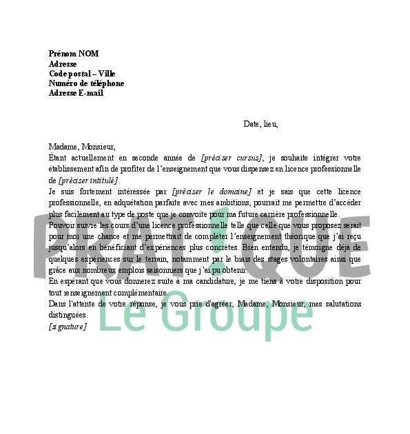 Lettre De Motivation Pour Une Formation: Lettre De Motivation Pour L'inscription Au Lycée