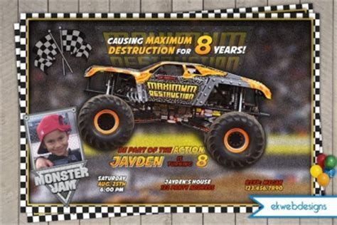 Monster Truck Printable Birthday Invitation, Maximum