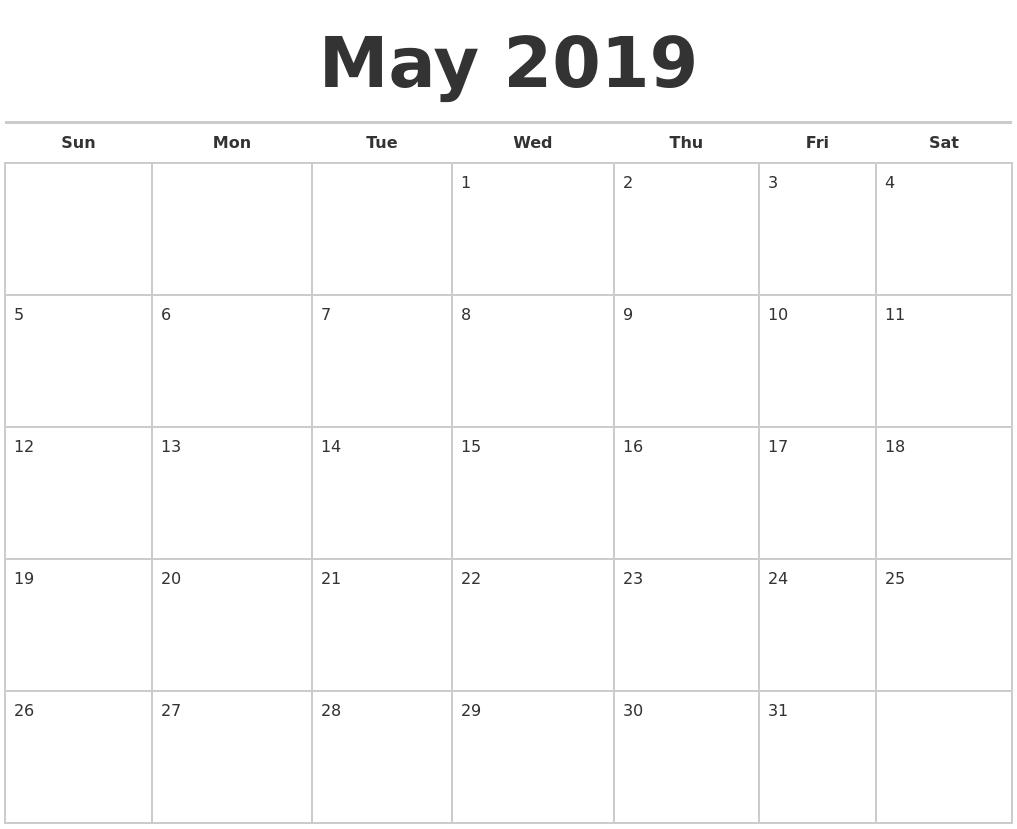 may 2019 calendars free